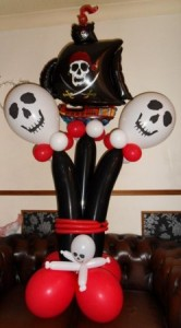 Pirate themed birthday balloon display