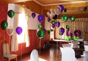Peter Pan themed latex and foil helium balloons