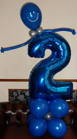 Number person themed balloon display
