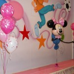 Minnie mouse themed foil and latex balloons
