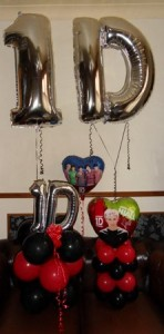 One direction themed foil birthday balloons