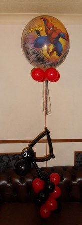 Spiderman bubble with spider themed spiral balloon base