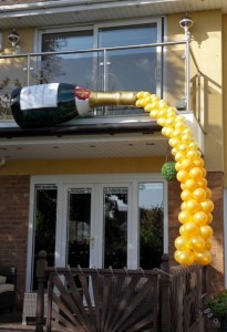 champagne balloon display, blackpool balloons, balloon delivery blackpool