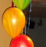 Rainbow balloons for an 18th party
