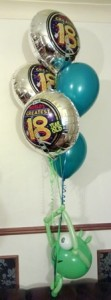 18th foil and latex balloon bouquet