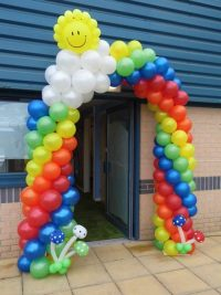 rainbow arch, toy shop balloons, new store balloons, corporate balloons, themed balloon arch