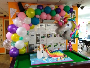 unicorn balloons, themed balloons, unicorn balloon frame, unicorn party blackpool, balloons blackpool