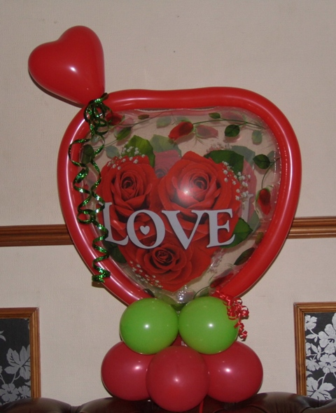 valentines balloons, candy weighted balloons, valentines gifts blackpool, bubble balloons