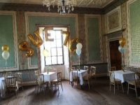 70th birthday balloons, Lytham Hall, letter balloon arch, helium balloons